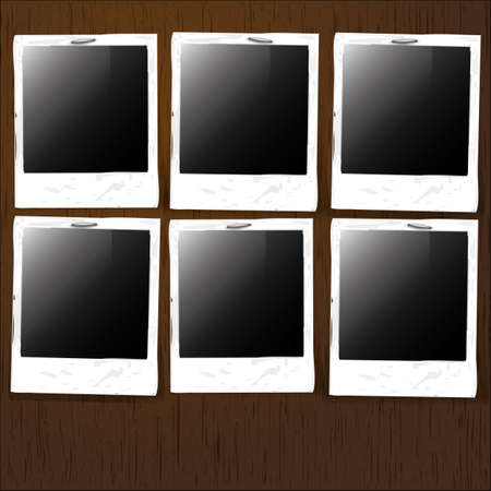 Empty Photos Stapled on Wooden Background Vector
