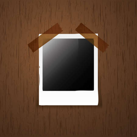 Empty Photo on Wooden  Vector