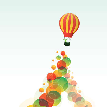 Hot Air Balloon on the Sky with Colorful Bubbles Illustration