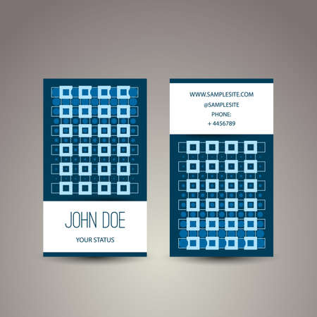 Business Card with Blue Abstract Pattern - Dots and Squares Vector
