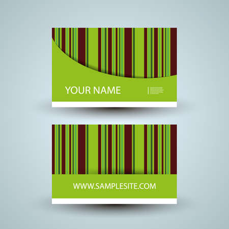 Business Card Design with Colorful Striped Pattern Vector