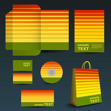 imagen corporativa: Stationery Template, Dise�o de Imagen Corporativa con el patr�n de rayas Vectores