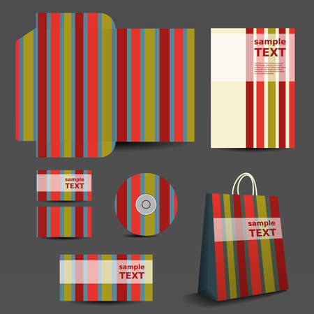 Stationery Template, Corporate Image Design with Colorful Striped Pattern Vector