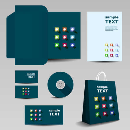 Stationery Template, Corporate Image Design with Abstract Icons Pattern Vector