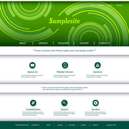 curved line: Website Template with Abstract  Illustration
