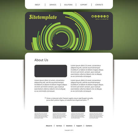 Website Template with Abstract Header Design Vector