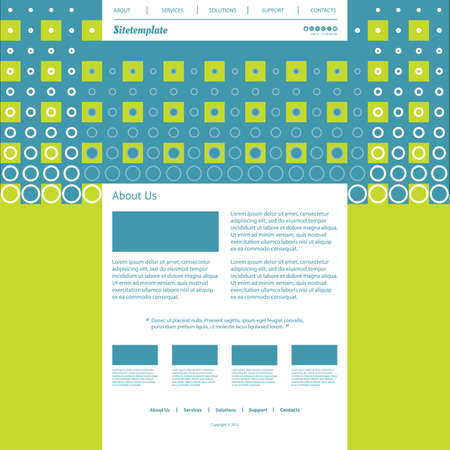 Website Template with Abstract Background - Dots and Squares  Vector