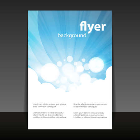 Flyer or Cover Design with Abstract White-Blue Background