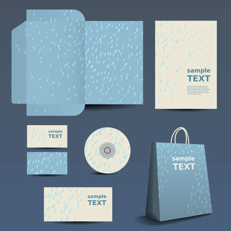 Stationery Template Design - Business Set with Raindrops Pattern Vector