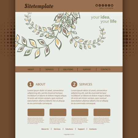 Website Template with Abstract Header Design - Organic Ornaments Pattern Vector