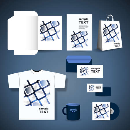 Stationery Template Design - Business Set with Blue Squares Pattern Vector