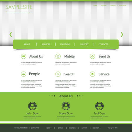 Website Template with Striped Header Design Vector