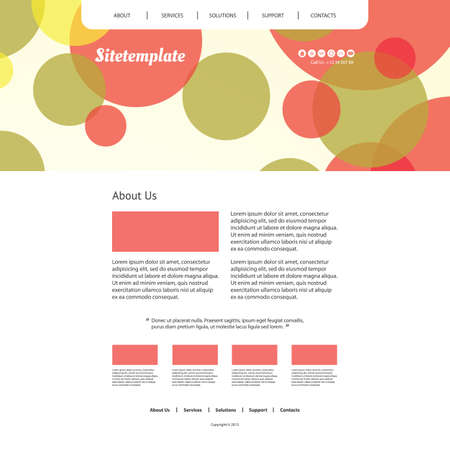 Website Template with Colorful Abstract Header Design Vector