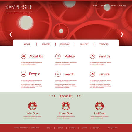 Website Template with Abstract Floral Header Design Vector