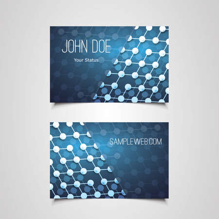 Business Card Template with Abstract Network Connections Design Vector