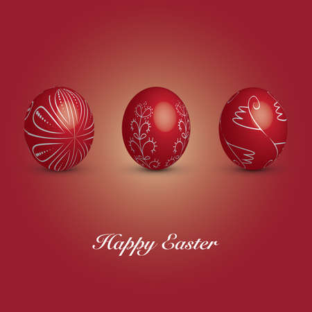 painted the cover illustration: Happy Easter Card - Three Red Eggs with Ornaments Illustration