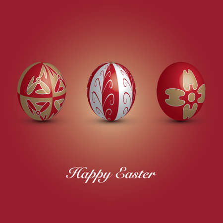 Happy Easter Card - Three Red Eggs with Ornaments Vector