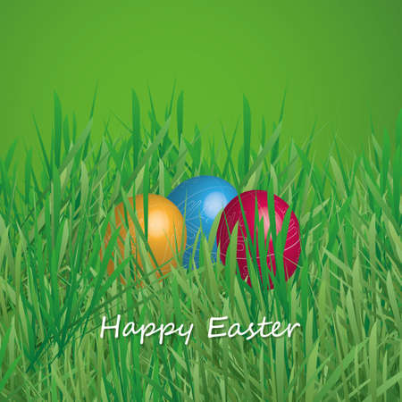 Happy Easter Card - Three Easter Eggs in the Grass Vector