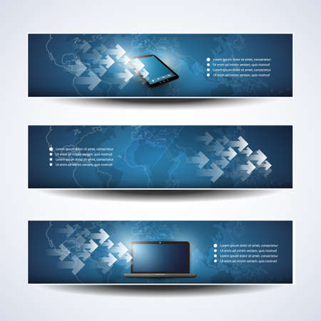 Banner or Header Designs - Cloud Computing, Networks Vector