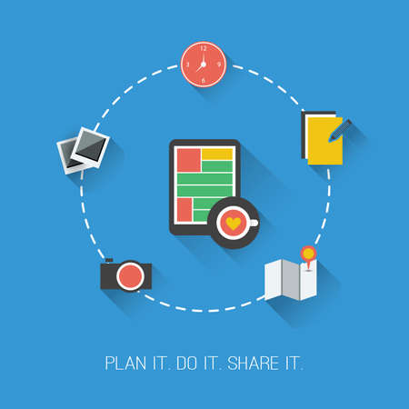 dashed line: Plan it  Do it  Share it  - Flat Design Concept