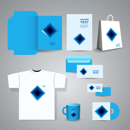 Stationery Template, Corporate Image Design with Blue Squares Vector