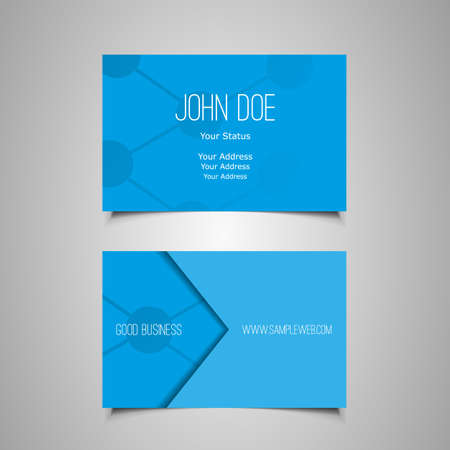 Business Card Template with Abstract Blue Background Vector