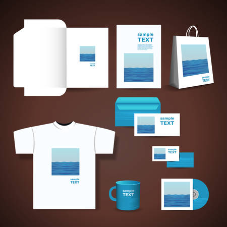 seawater: Stationery, Corporate Image Design with Blue Seawater Design Illustration