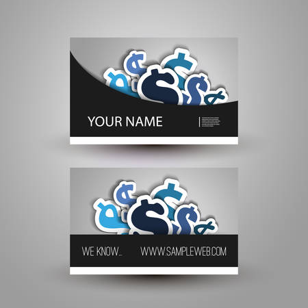 Business or Gift Card Design with Dollar Signs Background