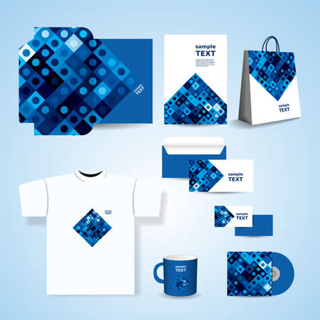 clothing label: Stationery Template, Corporate Image Design with Abstract Blue Retro Styled Squares Pattern Illustration