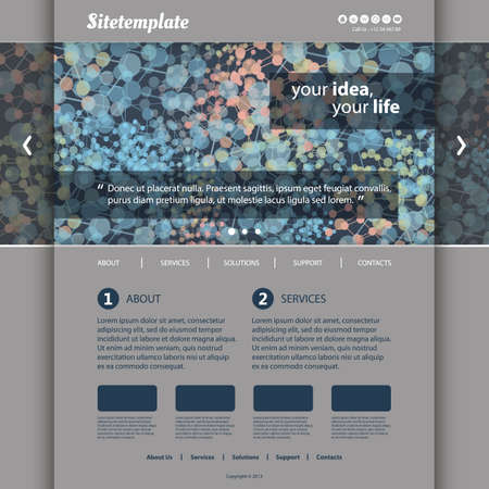 Website Template with Colorful Abstract Networks Header Design Vector