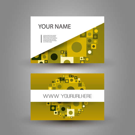mustard: Business or Gift Card Design with Abstract Background Illustration
