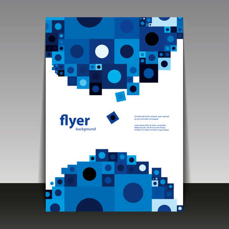 Flyer or Cover Design with Abstract Blue Pattern Vector