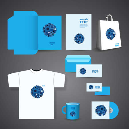Stationery, Corporate Image Design with Blue Squares Vector
