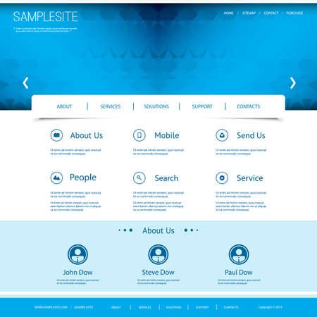 website header: Website Template with Abstract Header Design