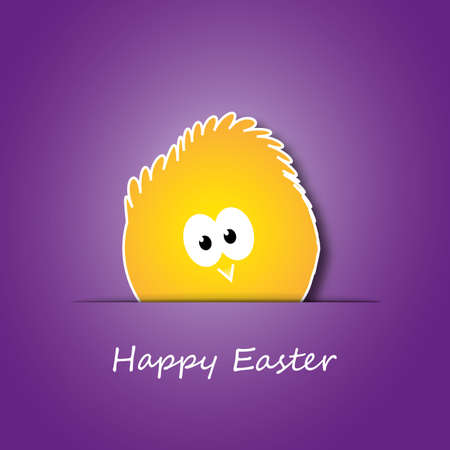Easter Card with Little Chicken Design  Vector
