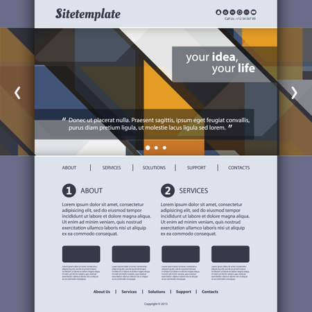 Website Template with Abstract Pattern Design Vector