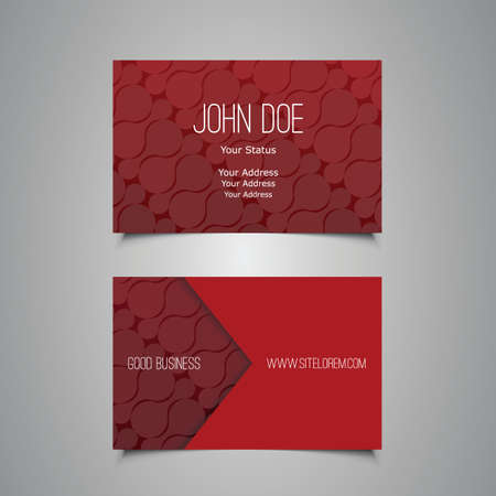 Business Card with Abstract Red Pattern Vector