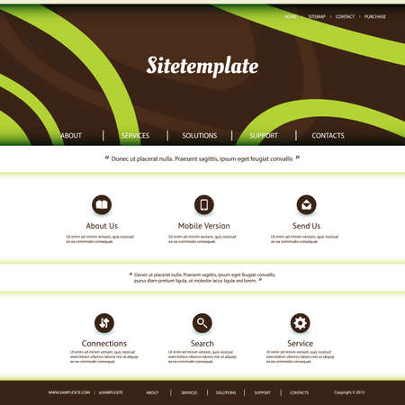 Website Template with Abstract Header Design - Curves Pattern Vector
