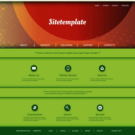 Website Template with Abstract Header Design - Colorful Grungy Pattern Vector