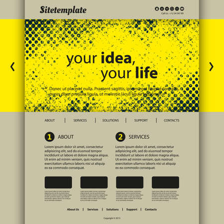grungy header: Website Template with Abstract Header Design - Yellow Grungy Pattern