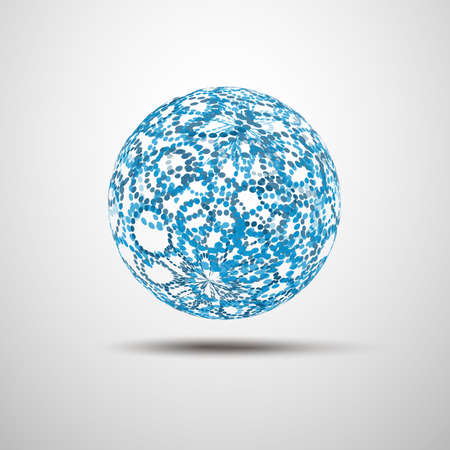 Abstract Blue Transparent Globe Design - Global Networks or Technology Illustration Template in Editable Vector Format  Vector