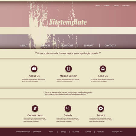 grungy header: Abstract Colorful Website Design Template with Retro Colors in Freely Scalable and Editable Vector Format