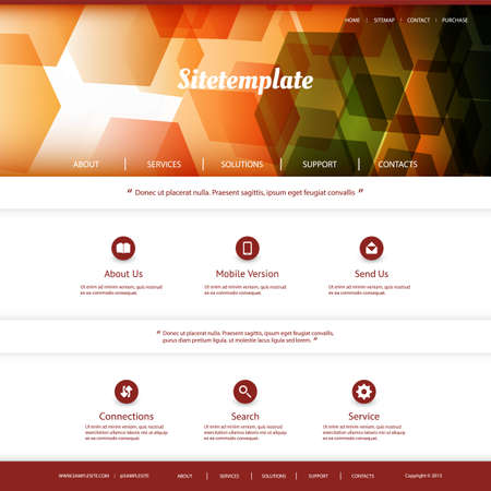 Website Template with Abstract Header Design - Colorful Hexagonal Pattern Vector
