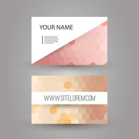 Business or Gift Card Design with Hexagonal Pattern Vector