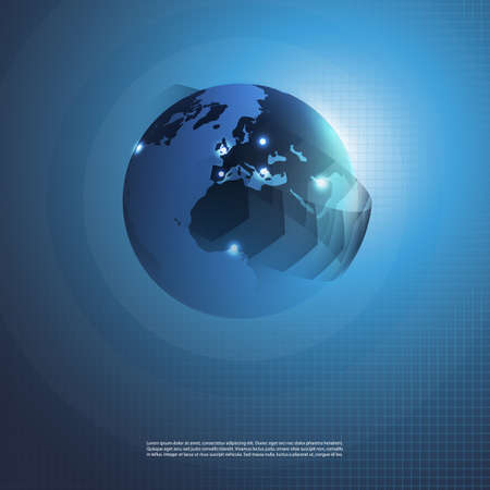 Abstract Blue Global Networks Concept Design with Earth Globe Vector