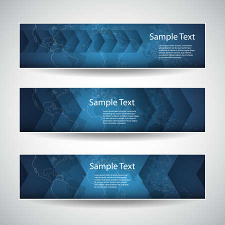 Set of Blue Headers or Banners with Abstract World Map Designs for Business or Technology Vector