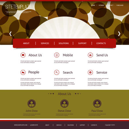 Website Template with Abstract Header Design - Circles Vector