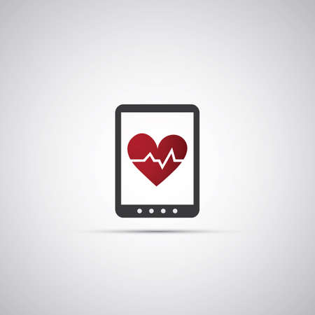 Heart Rate Counter App Icon for Mobile Devices - Vector Illustration Vector
