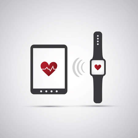 Heart Rate Counter on Mobile Devices - Heart Icon Vector Illustration Vector