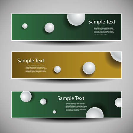 bronze background: Set of Colorful Banner or Header Designs with White Spheres